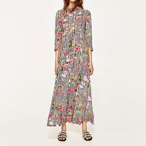 NWT Zara striped floral shirt maxi dress. S.